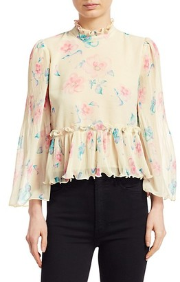 Ganni Pleated Floral Georgette Shirt
