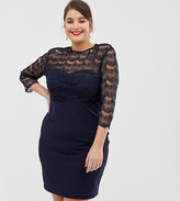Paper Dolls Plus 2 In 1 Lace Top Midi Dress In Navy On Sale For 4059 From Original Price Of 13706 At Asos