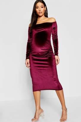 boohoo Maternity Velvet Off The Shoulder Midi Dress