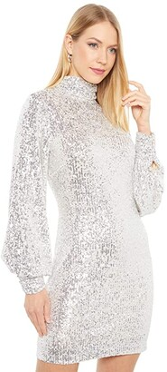 ONE33 SOCIAL Mock Neck Volume Sleeve Retro Party Dress (Silver) Women's Dress