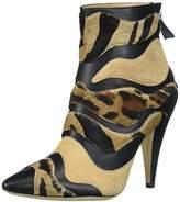 Alberta Ferretti Women's Calf Leather Mixed Animal Ankle Boot, A1566