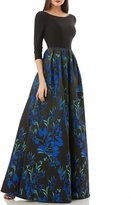 JS Collections Floral Jacquard Gown