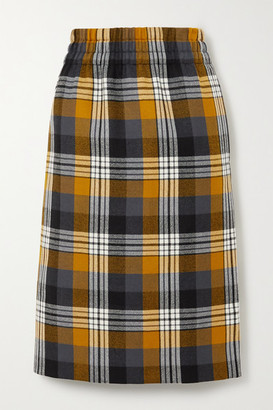 Dries Van Noten Checked Wool Midi Skirt - Mustard
