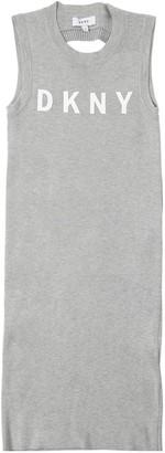 DKNY Logo Printed Viscose Rib Knit Dress