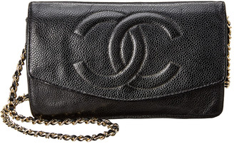 Chanel Black Lambskin Leather Timeless Wallet On Chain