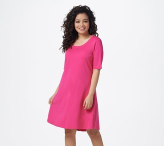Isaac Mizrahi Live! Petite Essentials Pima Cotton Elbow- Sleeve Dress