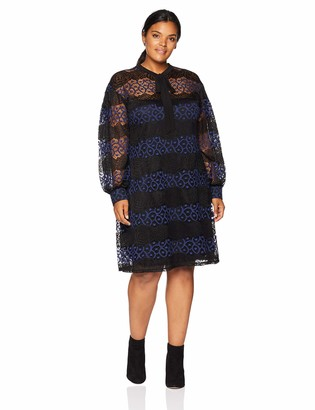 Gabby Skye Women's Plus Size Long Sleeved Round Neck Lace A-line Dress