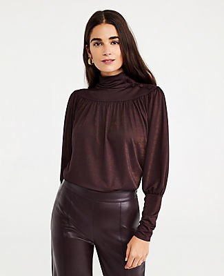 Ann Taylor Shimmer Button Shirred Turtleneck Top