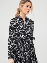 Very Pleated Skirt Shirt Dress - Print