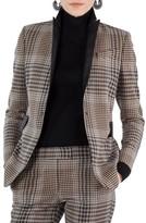 Akris Punto Women's Leather Trim Glen Check Stretch Jersey Blazer