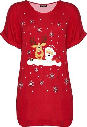 Fashion Star Womens Xmas Santa Reindeer Oversized T Shirt Reindeer Santa Wall Red M/L (UK 12/14)