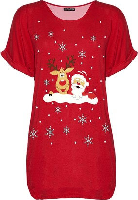 Fashion Star Womens Xmas Turn Up Sleeve Santa Reindeer Naughty Girls Get More Presents Christmas Oversized Baggy T Shirt Top