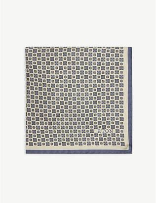Eton Mosaic floral pattern silk pocket square
