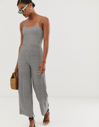 Stradivarius gingham check jumpsuit with back bow