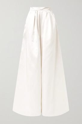 Halfpenny London Houston Pleated Duchesse-satin Wide-leg Pants - White