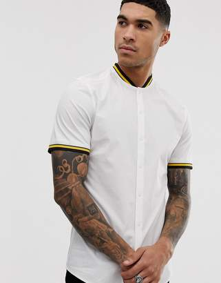 Asos Design DESIGN skinny fit white shirt with rib collar and cuffs