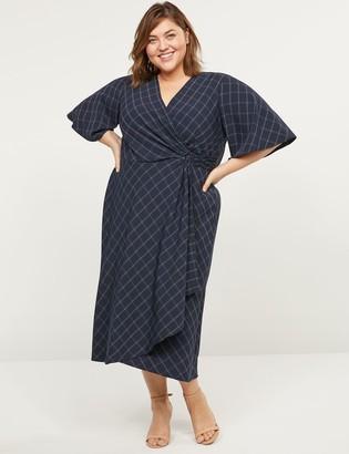 Lane Bryant Printed Faux-Wrap Midi Dress