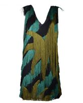 Marco De Vincenzo Striped Fringed Dress