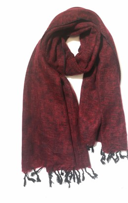 Cool Trade Winds Scarf / Wrap - Red / Black - 100% Fair Trade Yak Cotton Shawl(Size: 164cm x 84cm)