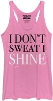 Chin Up Apparel Women's Tank Tops PINK - Pink Heather 'I Don't Sweat I Shine' Raw-Edge Racerback Tank - Women