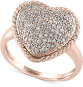Effy Pavé Rose by Diamond Pavé Heart Ring (1/2 ct. t.w.) in 14k Rose Gold