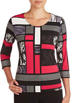 Allison Daley Plus Mixed Media Patterned Top