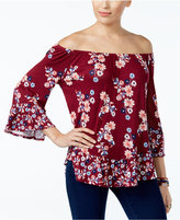 Style&Co. Style & Co Petite Printed Flounce-Hem Off-The-Shoulder Top, Only at Macy's