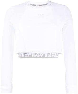 Fila Cropped Sheer Sleeves Top