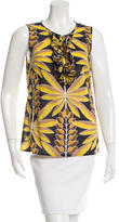 Tory Burch Printed Ruffle-Accented Top