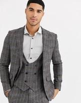 Gianni Feraud Skinny Fit Wool Blend Burgundy Check Suit Jacket-Grey