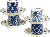Certified International Blue Indigo 4Pc Espresso Cup & Saucer Set
