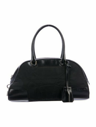 Prada Leather-Trimmed Tessuto Bowler Bag Black