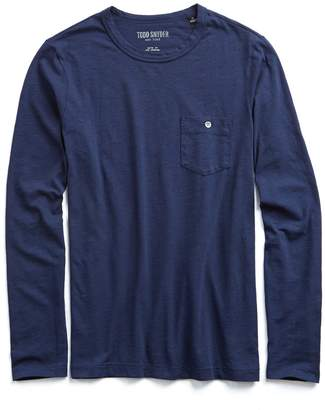 Todd Snyder Made in L.A. Slub Jersey Long Sleeve T-Shirt in Navy