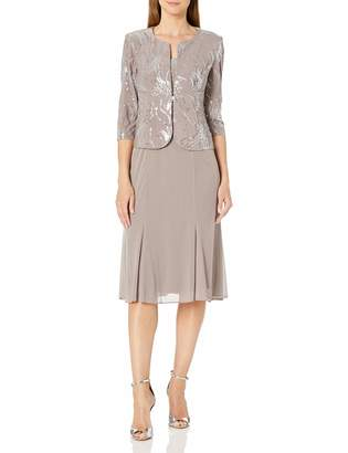 Alex Evenings Women's Sequin Mock Jacket T-Length Dress