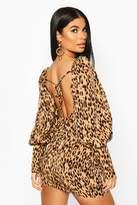 boohoo Petite Woven Leopard Puff Sleeve Mini Dress