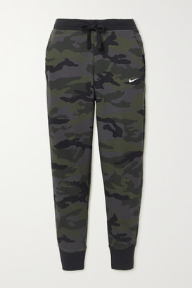 Nike Cropped Camouflage-print Cotton-blend Jersey Track Pants - White