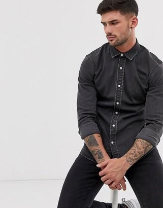 Topman denim shirt in grey wash