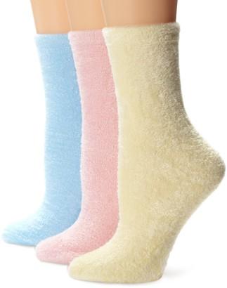 Muk Luks Women's Buttercreme Crew Socks Solids 3 Pair Pack