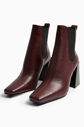 Topshop Womens Harbour Burgundy Leather Chelsea Boots - Burgundy