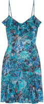 La Perla Ruffle-trimmed Printed Silk-blend Mini Dress - Blue