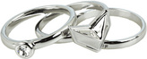 Rebecca Minkoff Heart Ring Stack (Silvertone w/ Clear Crystals) - Jewelry