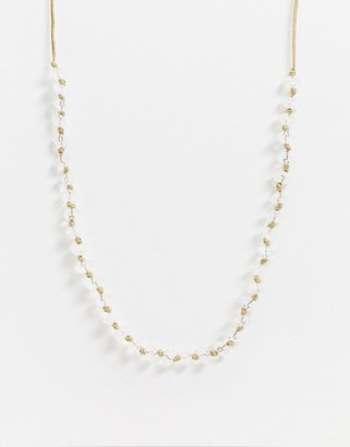 Weekday Amy stone and rope necklace in natural