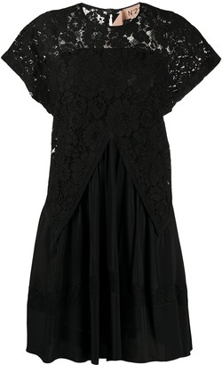No.21 Lace Draped Mini Dress