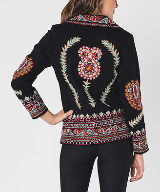 Paparazzi Women's Non-Denim Casual Jackets BLACK - Black & Red Geometric Embroidery Jacket - Women