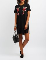 Charlotte Russe Floral Embroidered T-Shirt Dress