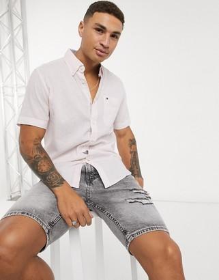 Tommy Hilfiger Tommy Hilfger peter solid cotton linen short sleeve shirt in pink