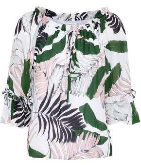 Milly Ruffle-trimmed Printed Silk Crepe De Chine Blouse