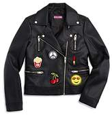 Aqua Girls' Faux-Leather Jacket with Patches, Big Kid - 100% Exclusive