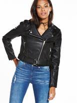 Noisy May Suedette Biker Jacket - Black