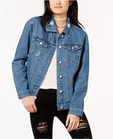 Almost Famous Crave Fame by Juniors' Lace-Up Denim Jacket